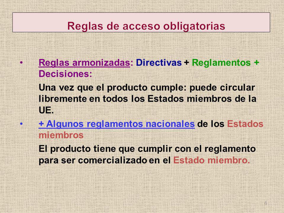 Reglas armonizadas: Directivas + Reglamentos + Decisiones: Una vez que el producto cumple: puede circular libremente en todos los Estados miembros de