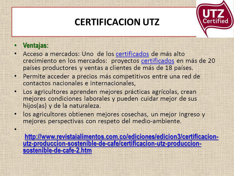 CERTIFICACION UTZ Ventajas: Ventajas: Acceso a mercados: Uno de los certificados de más alto crecimiento en los mercados: proyectos certificados en má