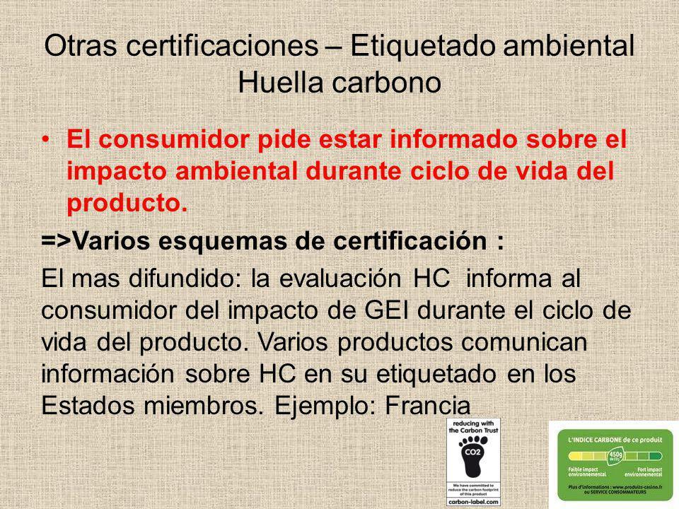 Otras certificaciones – Etiquetado ambiental Huella carbono El consumidor pide estar informado sobre el impacto ambiental durante ciclo de vida del pr