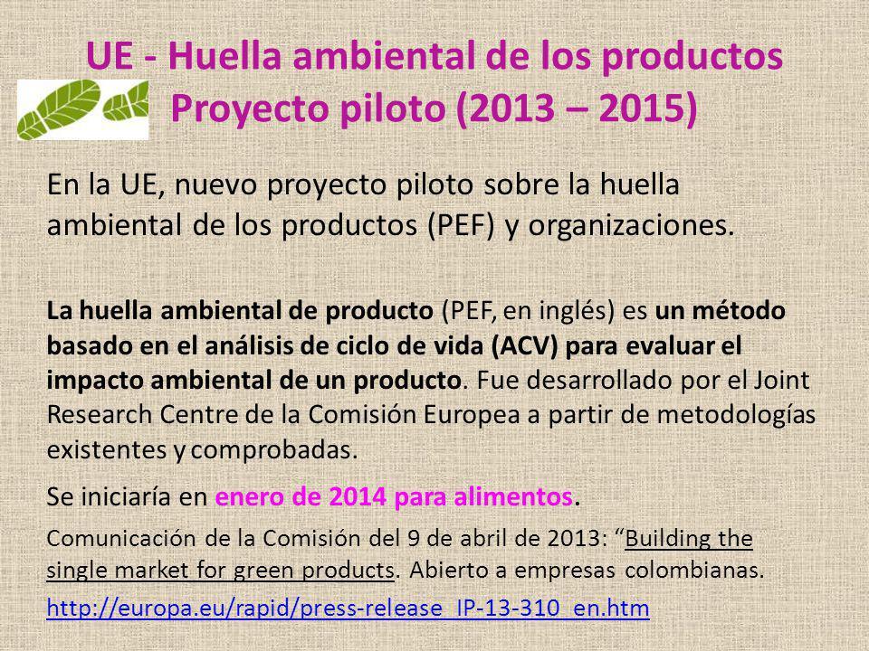 UE - Huella ambiental de los productos Proyecto piloto (2013 – 2015) En la UE, nuevo proyecto piloto sobre la huella ambiental de los productos (PEF)