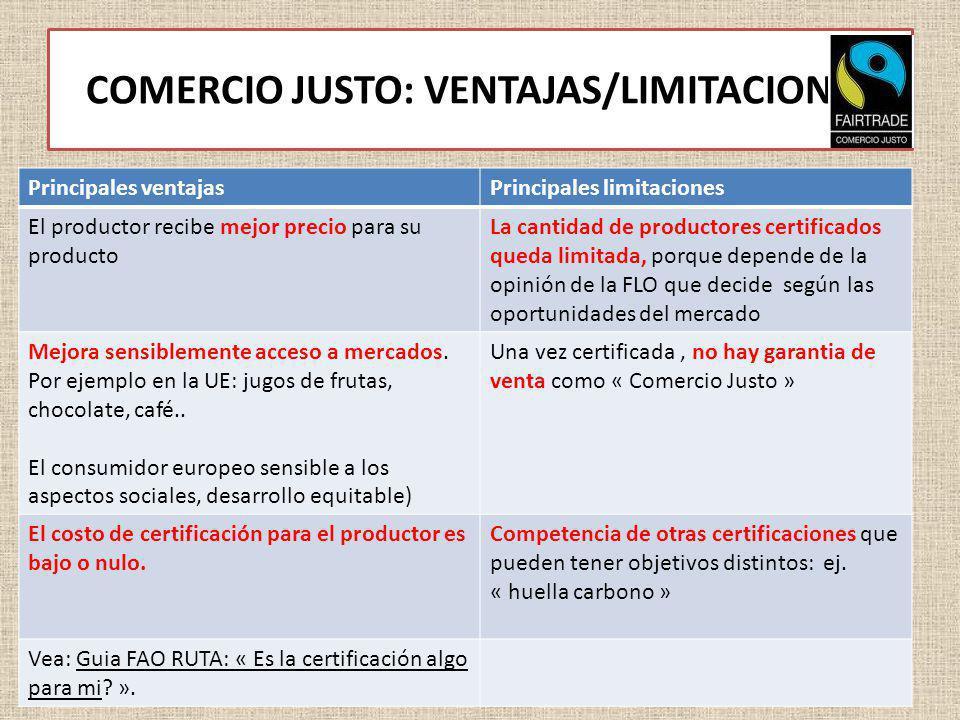 COMERCIO JUSTO: VENTAJAS/LIMITACIONES Principales ventajasPrincipales limitaciones El productor recibe mejor precio para su producto La cantidad de pr