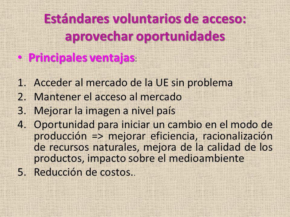 Estándares voluntarios de acceso: aprovechar oportunidades Principales ventajas Principales ventajas : 1.Acceder al mercado de la UE sin problema 2.Ma
