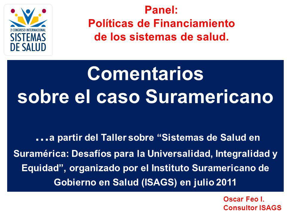 Panel: Políticas de Financiamiento de los Sistemas de Salud en Suramérica Contenido de la presentación: 1.Breve comentario sobre el Consejo de Salud Suramericano, el ISAGS y el Taller sobre Sistemas de Salud.