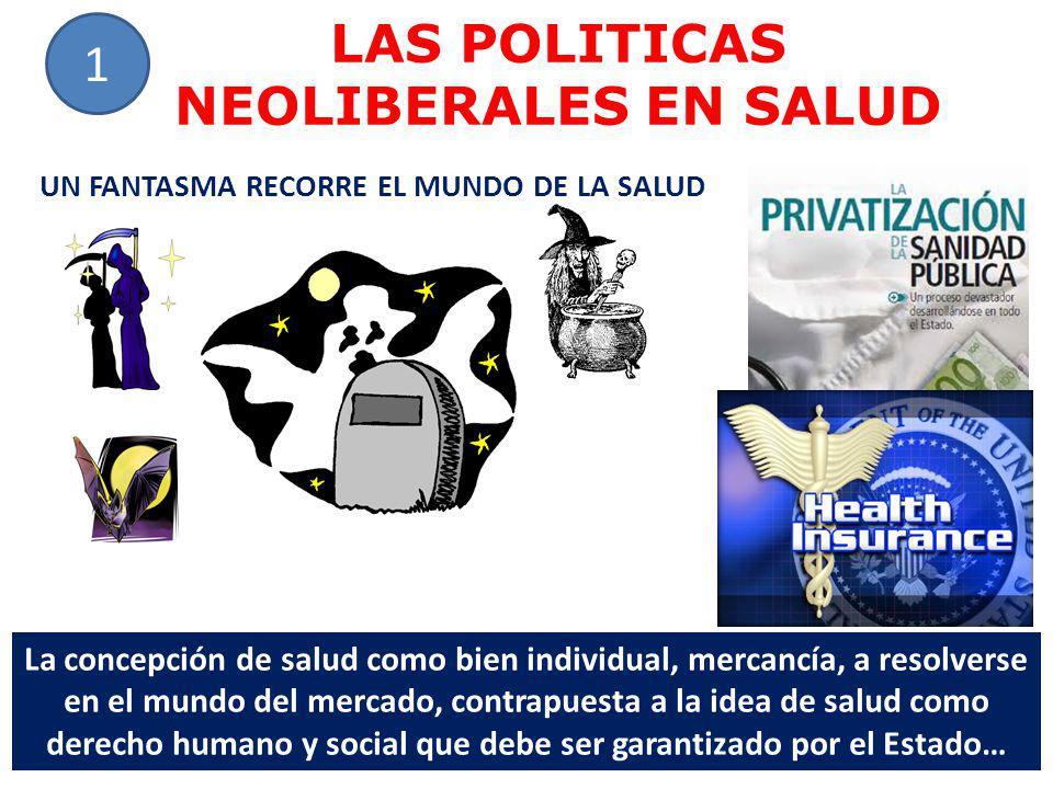 LAS POLITICAS NEOLIBERALES EN SALUD 1 UN FANTASMA RECORRE EL MUNDO DE LA SALUD La concepción de salud como bien individual, mercancía, a resolverse en