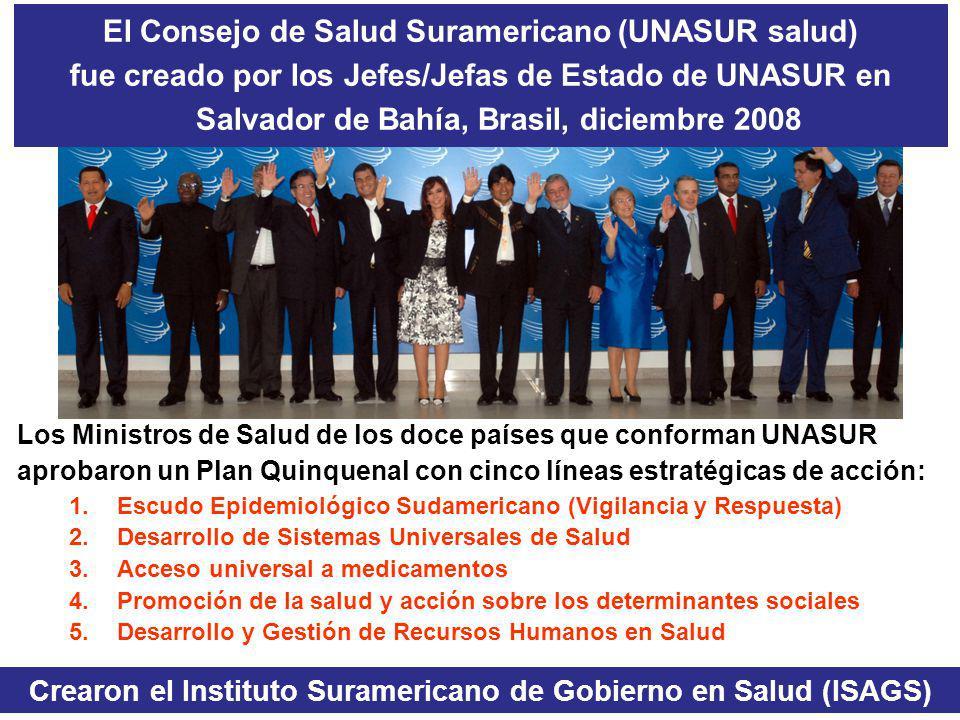 El Consejo de Salud Suramericano (UNASUR salud) fue creado por los Jefes/Jefas de Estado de UNASUR en Salvador de Bahía, Brasil, diciembre 2008 Los Mi