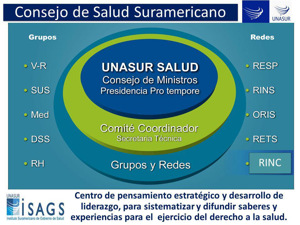 Consejo de Salud Suramericano Centro de pensamiento estratégico y desarrollo de liderazgo, para sistematizar y difundir saberes y experiencias para el
