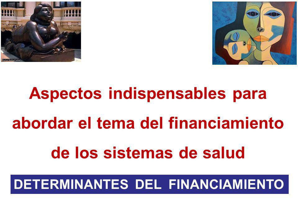 Aspectos indispensables para abordar el tema del financiamiento de los sistemas de salud DETERMINANTES DEL FINANCIAMIENTO