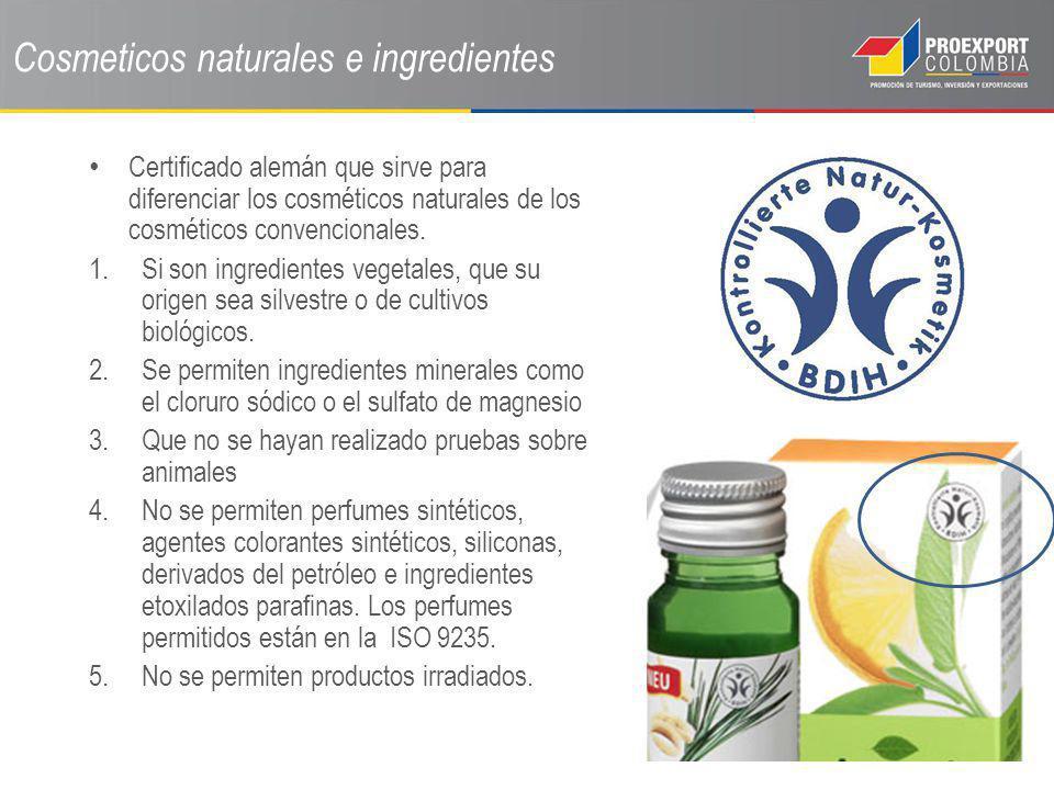 Certificado alemán que sirve para diferenciar los cosméticos naturales de los cosméticos convencionales. 1.Si son ingredientes vegetales, que su orige