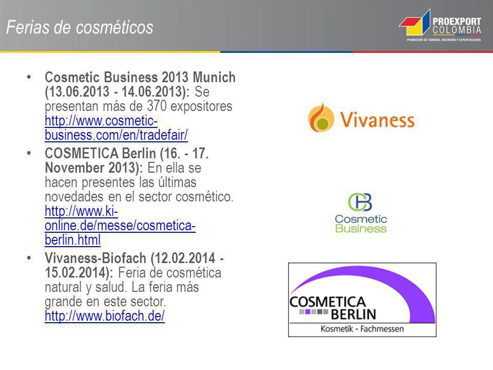 Ferias de cosméticos Cosmetic Business 2013 Munich (13.06.2013 - 14.06.2013): Se presentan más de 370 expositores http://www.cosmetic- business.com/en
