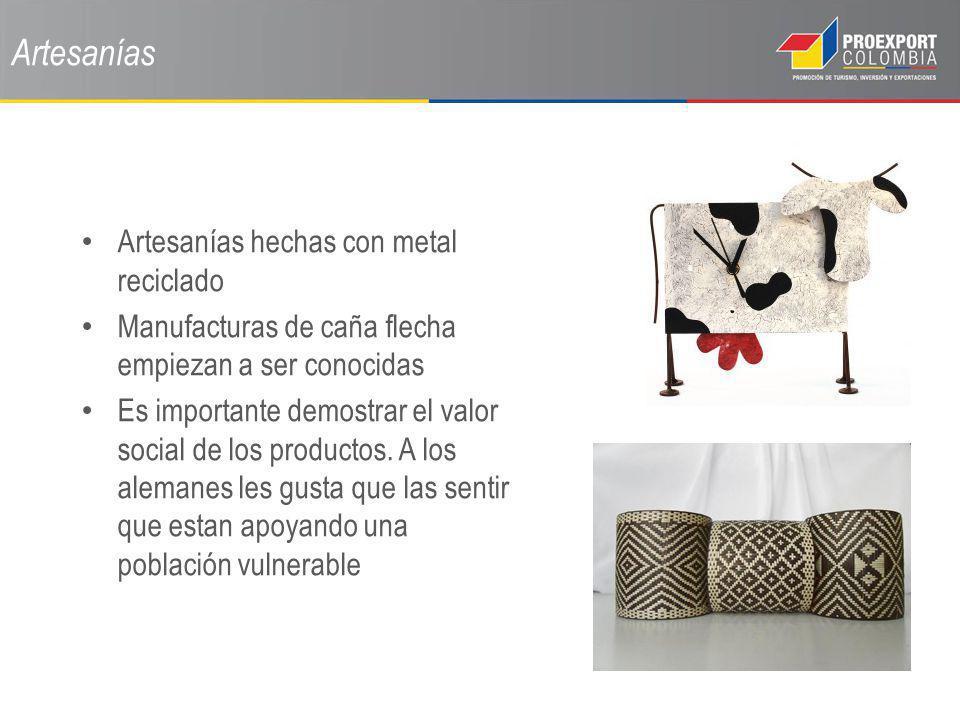 Artesanías Artesanías hechas con metal reciclado Manufacturas de caña flecha empiezan a ser conocidas Es importante demostrar el valor social de los p