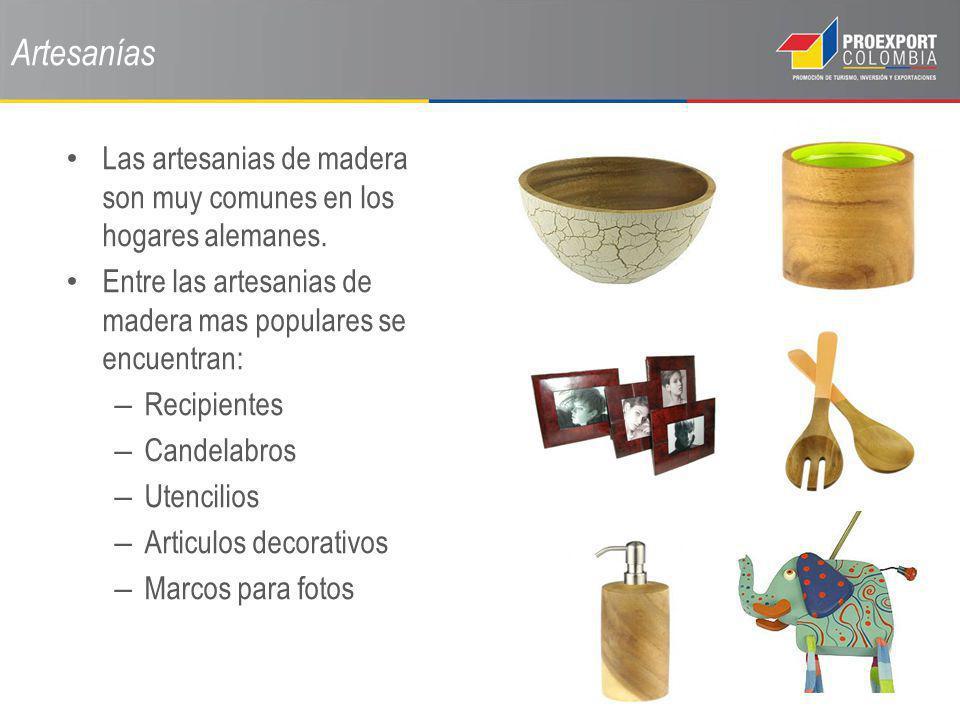 Artesanías Las artesanias de madera son muy comunes en los hogares alemanes. Entre las artesanias de madera mas populares se encuentran: – Recipientes