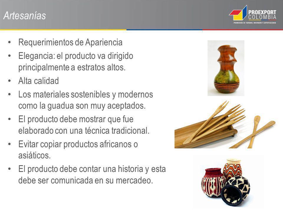 Artesanías Requerimientos de Apariencia Elegancia: el producto va dirigido principalmente a estratos altos. Alta calidad Los materiales sostenibles y