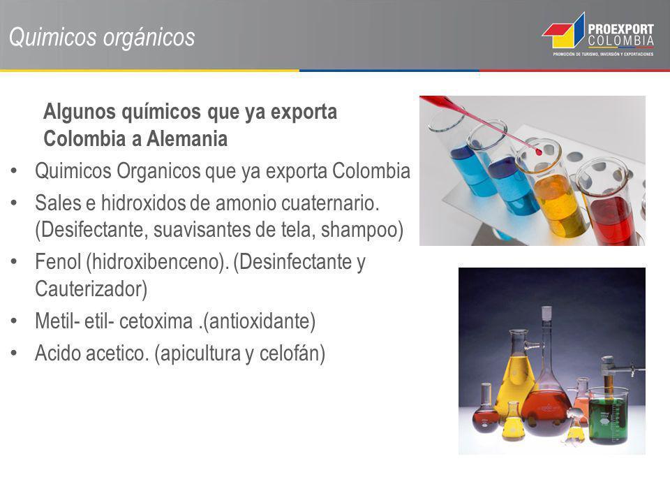 Quimicos orgánicos Algunos químicos que ya exporta Colombia a Alemania Quimicos Organicos que ya exporta Colombia Sales e hidroxidos de amonio cuatern