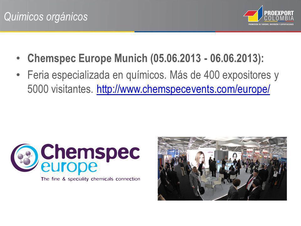 Quimicos orgánicos Chemspec Europe Munich (05.06.2013 - 06.06.2013): Feria especializada en químicos. Más de 400 expositores y 5000 visitantes. http:/