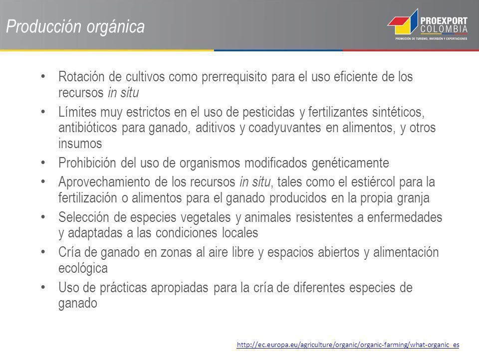 Producción orgánica Rotación de cultivos como prerrequisito para el uso eficiente de los recursos in situ Límites muy estrictos en el uso de pesticida