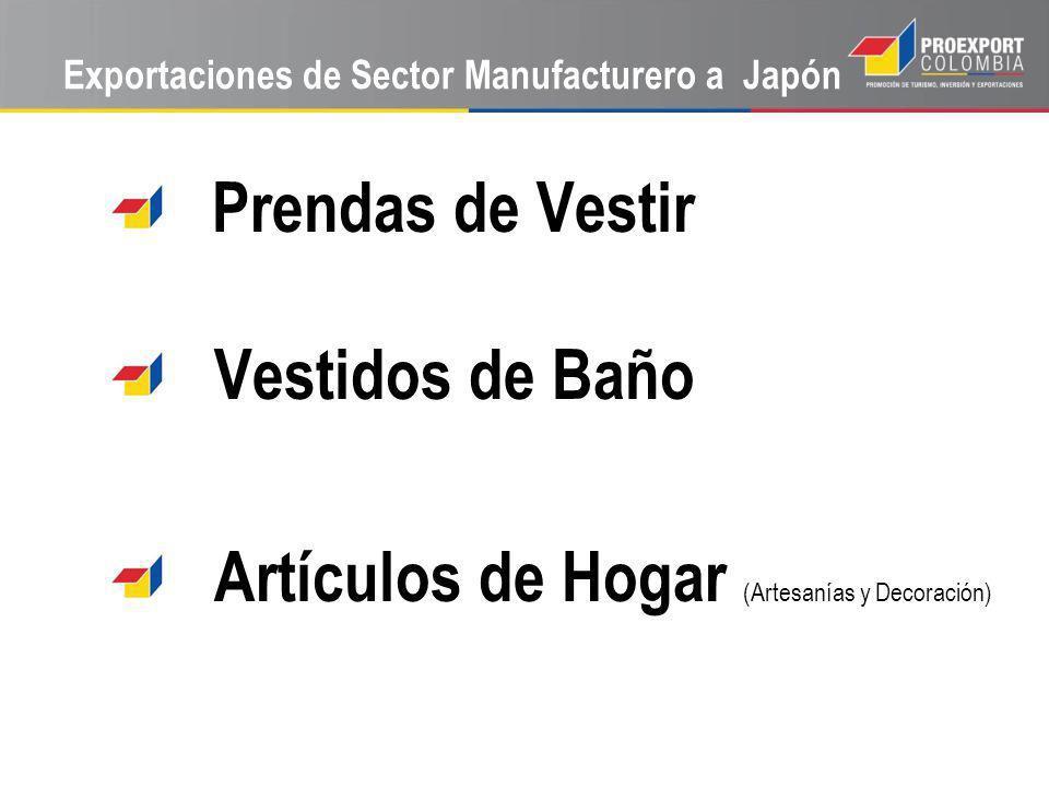Exportaciones de Sector Manufacturero a Japón Prendas de Vestir Vestidos de Baño Artículos de Hogar (Artesanías y Decoración)