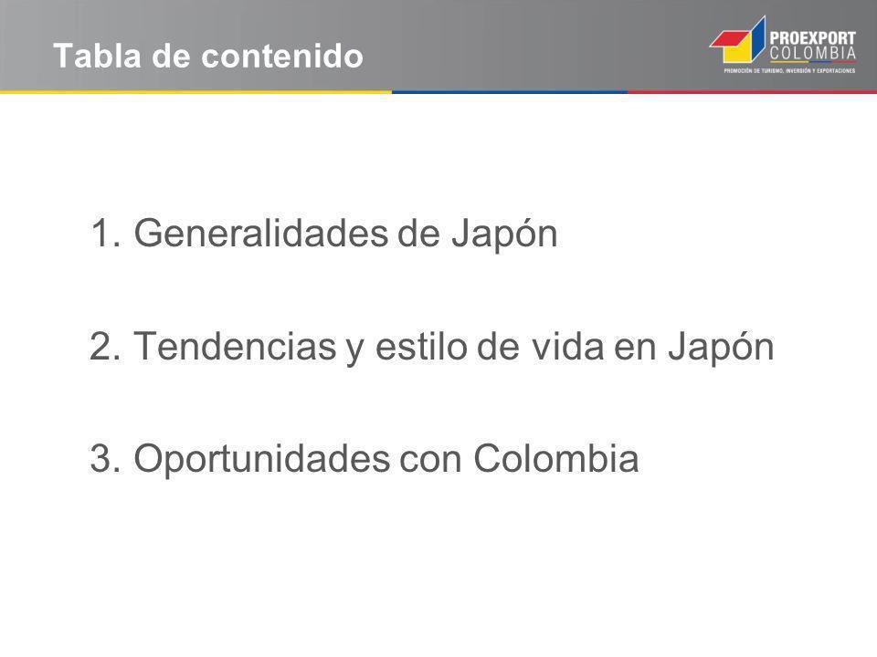 Tabla de contenido 1.Generalidades de Japón 2.Tendencias y estilo de vida en Japón 3.Oportunidades con Colombia