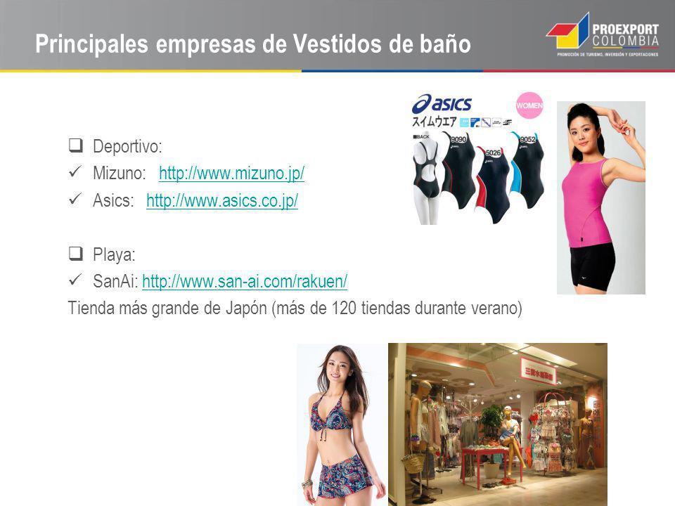 Principales empresas de Vestidos de baño Deportivo: Mizuno: http://www.mizuno.jp/http://www.mizuno.jp/ Asics: http://www.asics.co.jp/http://www.asics.co.jp/ Playa: SanAi: http://www.san-ai.com/rakuen/http://www.san-ai.com/rakuen/ Tienda más grande de Japón (más de 120 tiendas durante verano)