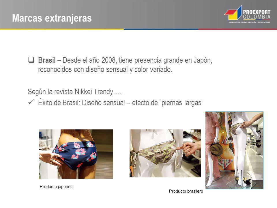 Marcas extranjeras Brasil – Desde el año 2008, tiene presencia grande en Japón, reconocidos con diseño sensual y color variado. Según la revista Nikke