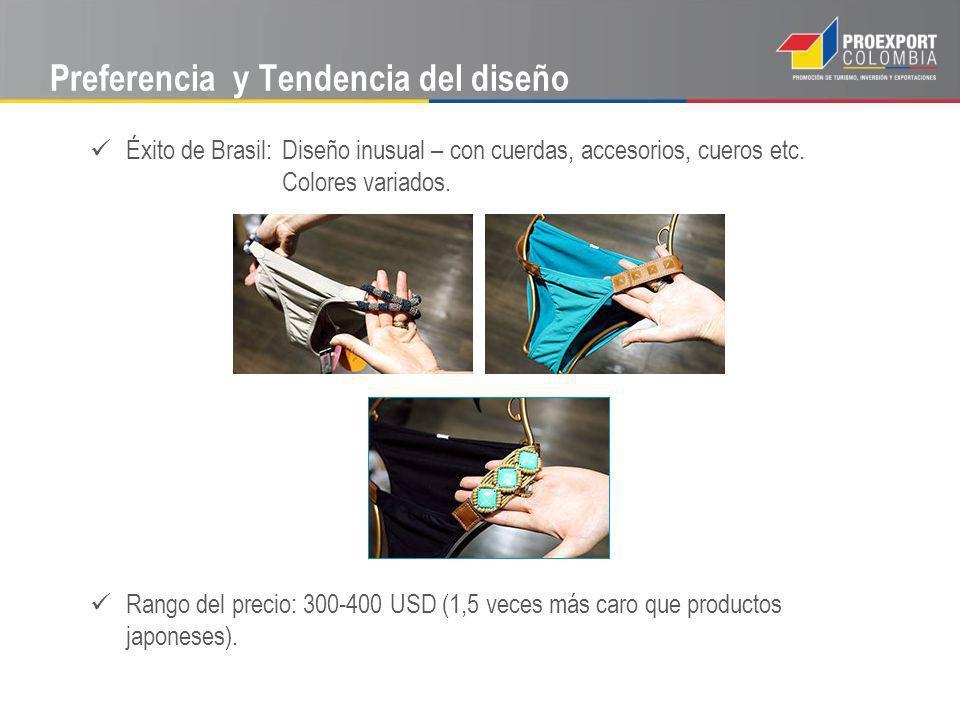 Preferencia y Tendencia del diseño Éxito de Brasil: Diseño inusual – con cuerdas, accesorios, cueros etc. Colores variados. Rango del precio: 300-400