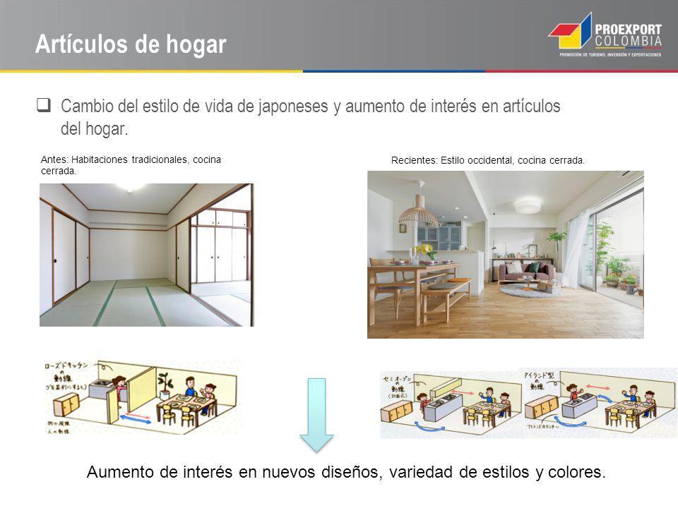 Cambio del estilo de vida de japoneses y aumento de interés en artículos del hogar. Aumento de interés en nuevos diseños, variedad de estilos y colore