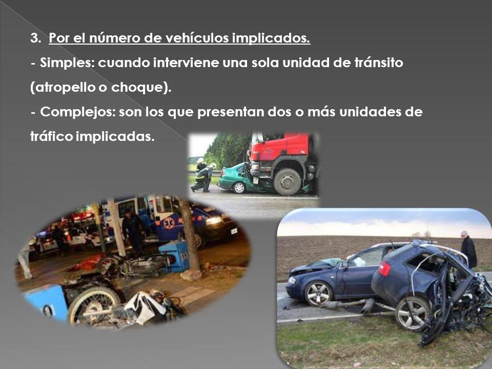 3.Por el número de vehículos implicados. - Simples: cuando interviene una sola unidad de tránsito (atropello o choque). - Complejos: son los que prese