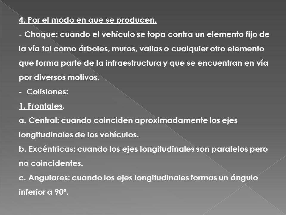 4. Por el modo en que se producen. - Choque: cuando el vehículo se topa contra un elemento fijo de la vía tal como árboles, muros, vallas o cualquier