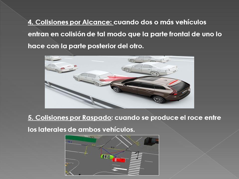 4. Colisiones por Alcance: cuando dos o más vehículos entran en colisión de tal modo que la parte frontal de uno lo hace con la parte posterior del ot