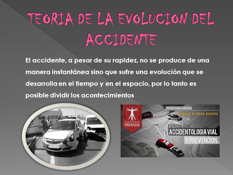 El accidente, a pesar de su rapidez, no se produce de una manera instantánea sino que sufre una evolución que se desarrolla en el tiempo y en el espac