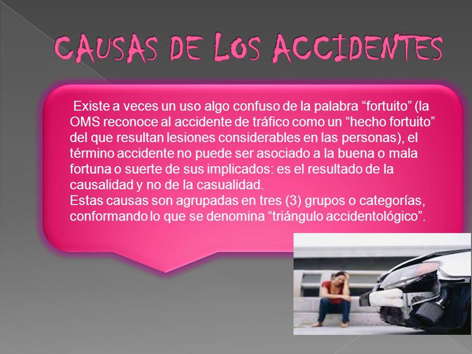 Existe a veces un uso algo confuso de la palabra fortuito (la OMS reconoce al accidente de tráfico como un hecho fortuito del que resultan lesiones co