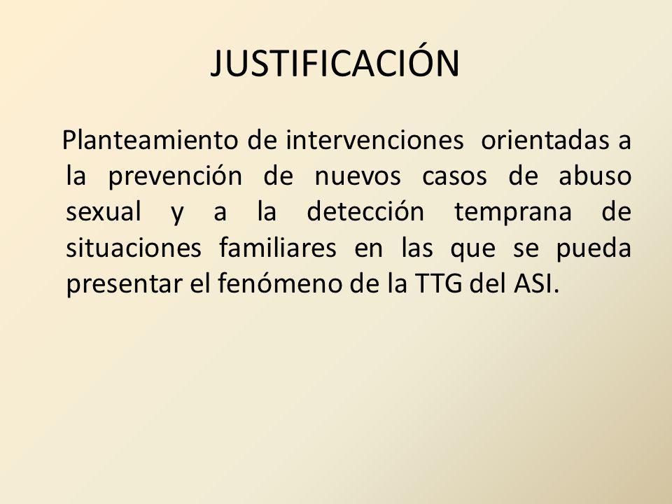 JUSTIFICACIÓN Planteamiento de intervenciones orientadas a la prevención de nuevos casos de abuso sexual y a la detección temprana de situaciones fami