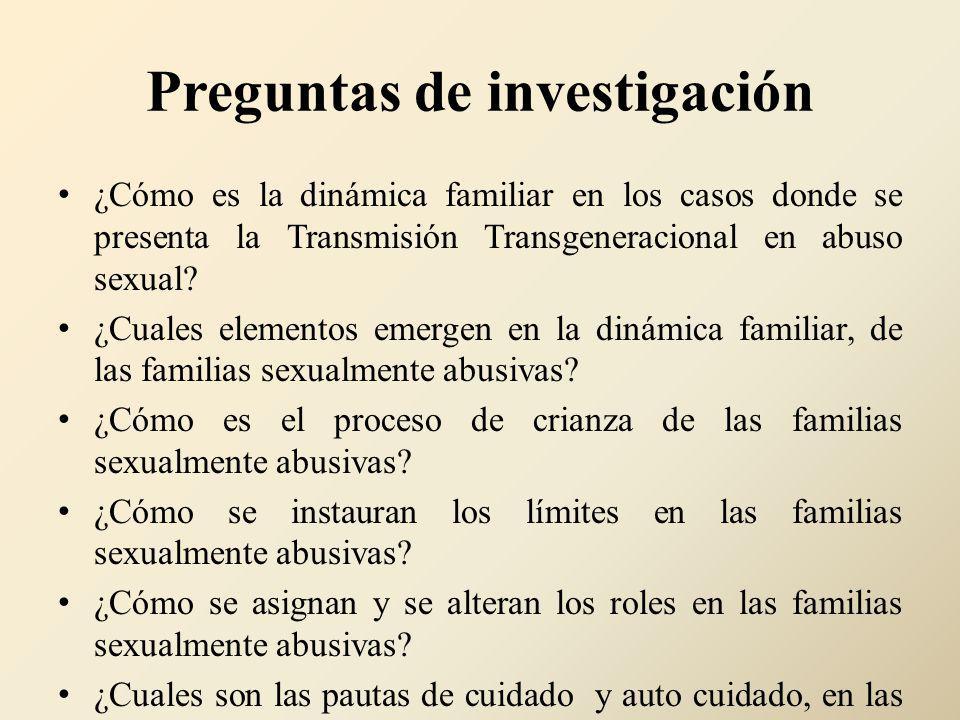 Preguntas de investigación ¿Cómo es la dinámica familiar en los casos donde se presenta la Transmisión Transgeneracional en abuso sexual? ¿Cuales elem