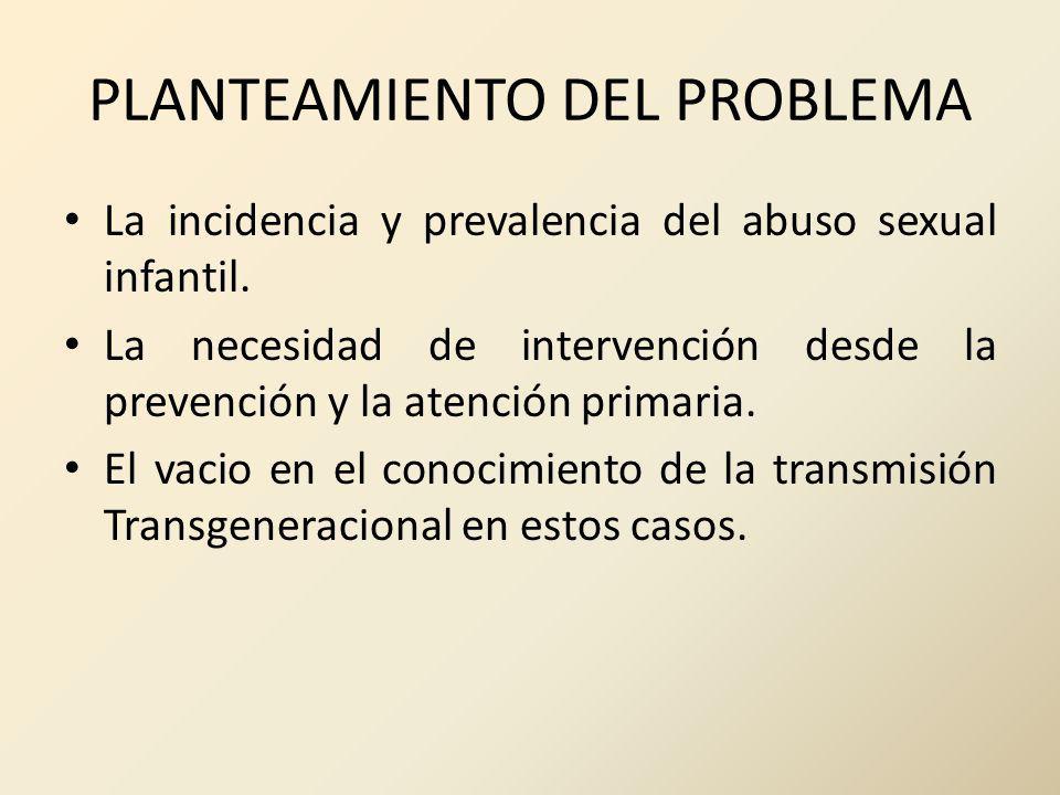 PLANTEAMIENTO DEL PROBLEMA La incidencia y prevalencia del abuso sexual infantil. La necesidad de intervención desde la prevención y la atención prima
