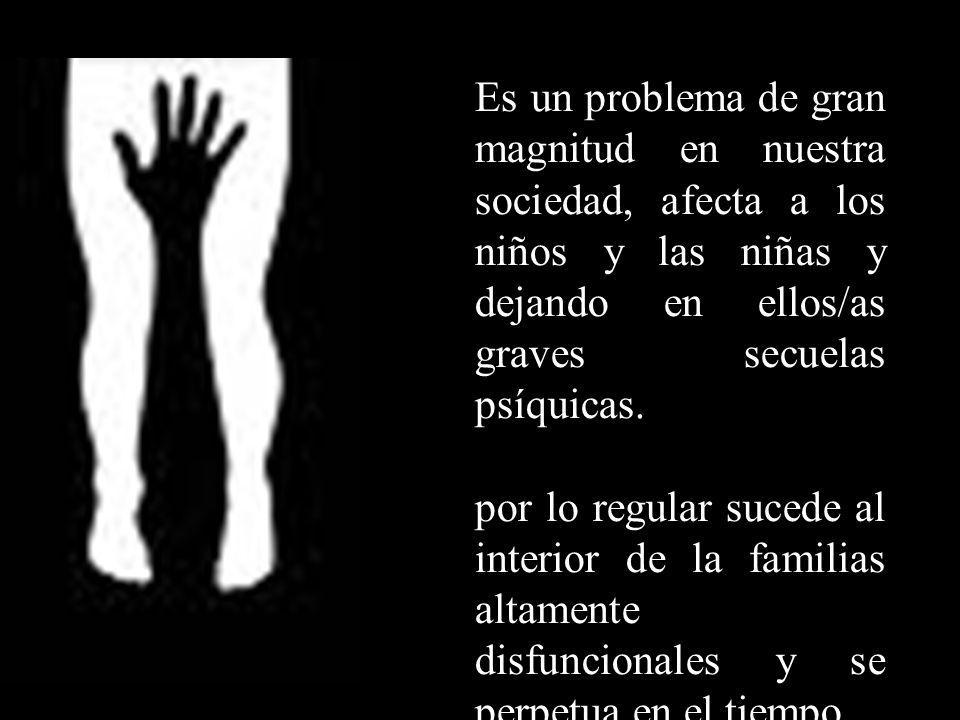 Cifras de ASI en colombia Según la UNICEF Para el año 2004, se registraron a nivel nacional 14.434 casos de abuso sexual entre menores de edad de los 0 a los 17 años, es decir, un 84,3% a nivel nacional de 17.912 reconocimientos médicos.