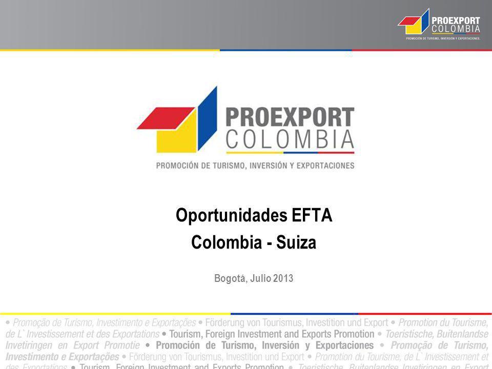 Relación Comercial: Colombia y EFTA En 2012 las exportaciones colombianas a los países del EFTA alcanzaron US$751,6 millones.
