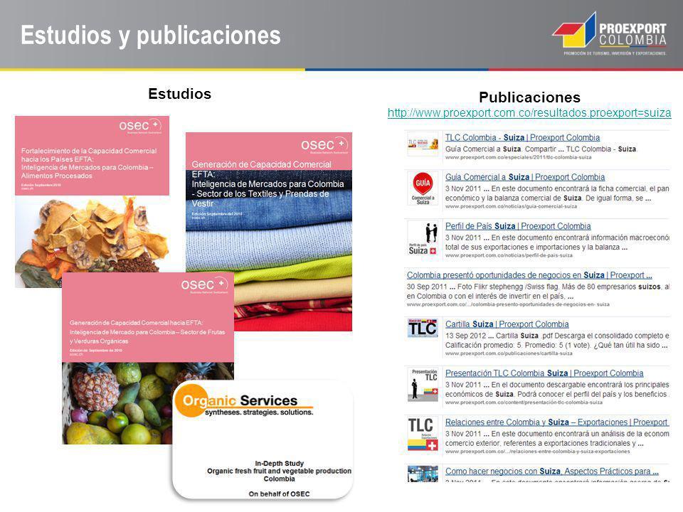 Estudios y publicaciones Publicaciones http://www.proexport.com.co/resultados.proexport=suiza http://www.proexport.com.co/resultados.proexport=suiza E