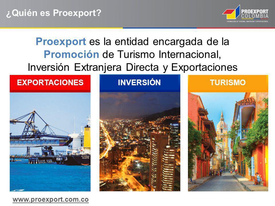 ¿Quién es Proexport? Proexport es la entidad encargada de la Promoción de Turismo Internacional, Inversión Extranjera Directa y Exportaciones EXPORTAC