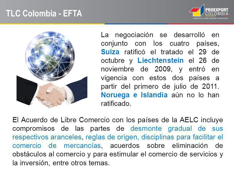 TLC Colombia - EFTA La negociación se desarrolló en conjunto con los cuatro países, Suiza ratificó el tratado el 29 de octubre y Liechtenstein el 26 d