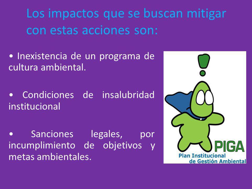 Los impactos que se buscan mitigar con estas acciones son: Inexistencia de un programa de cultura ambiental. Condiciones de insalubridad institucional
