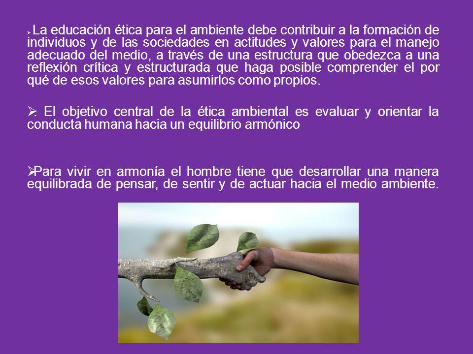 La educación ética para el ambiente debe contribuir a la formación de individuos y de las sociedades en actitudes y valores para el manejo adecuado de