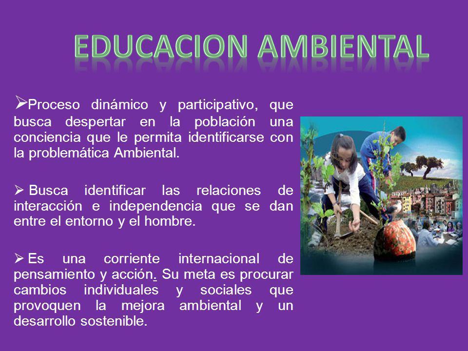 Proceso dinámico y participativo, que busca despertar en la población una conciencia que le permita identificarse con la problemática Ambiental. Busca