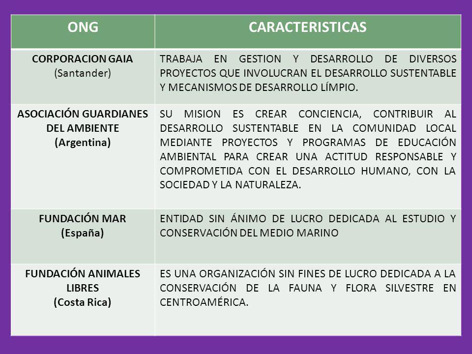 ONGCARACTERISTICAS CORPORACION GAIA (Santander) TRABAJA EN GESTION Y DESARROLLO DE DIVERSOS PROYECTOS QUE INVOLUCRAN EL DESARROLLO SUSTENTABLE Y MECAN