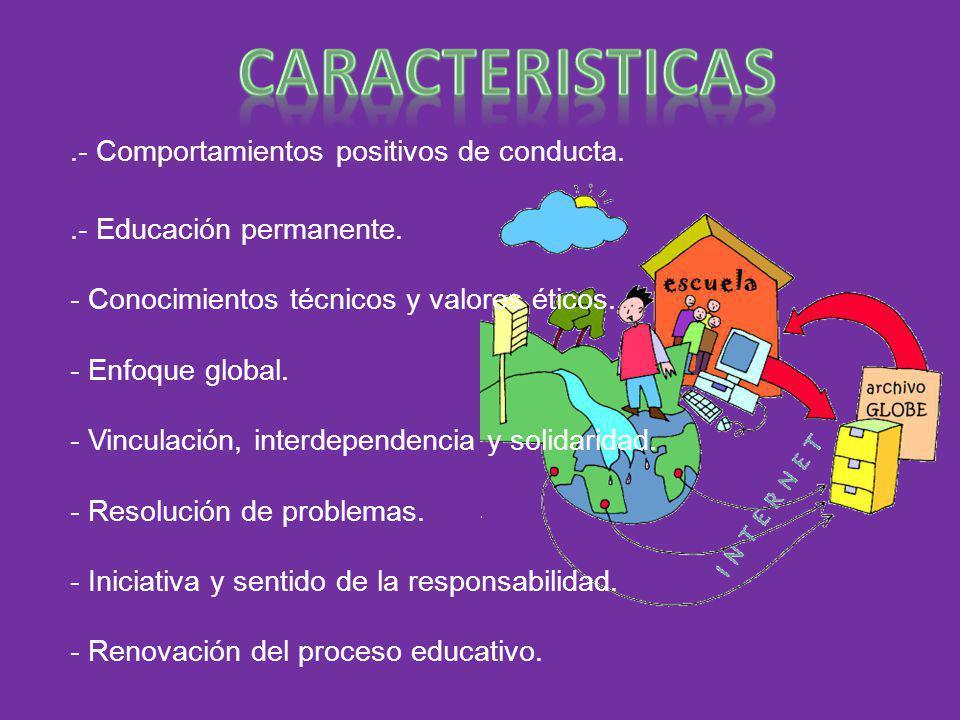 .- Comportamientos positivos de conducta..- Educación permanente. - Conocimientos técnicos y valores éticos. - Enfoque global. - Vinculación, interdep