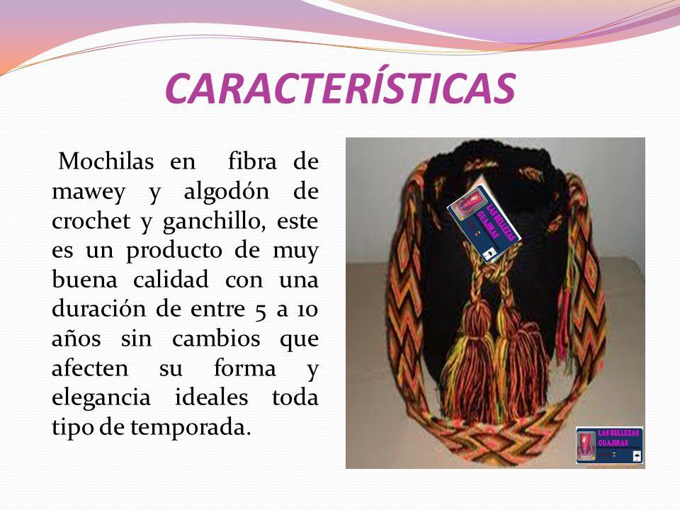 CARACTERÍSTICAS Mochilas en fibra de mawey y algodón de crochet y ganchillo, este es un producto de muy buena calidad con una duración de entre 5 a 10