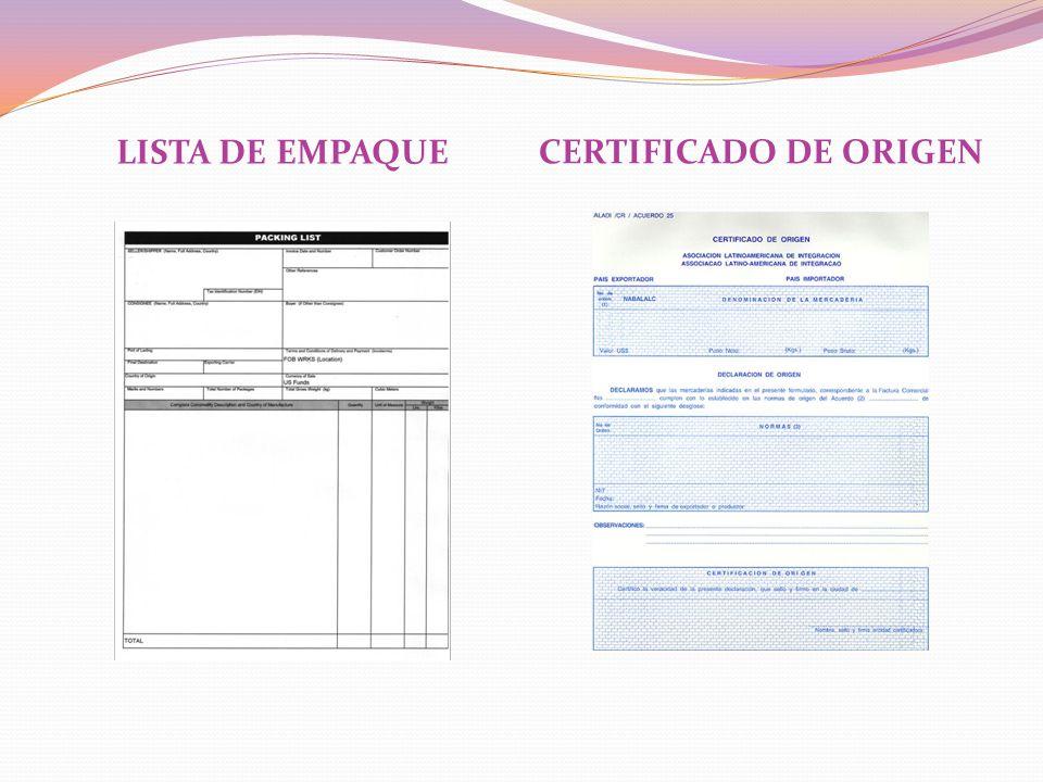 LISTA DE EMPAQUE CERTIFICADO DE ORIGEN