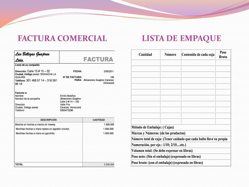 FACTURA COMERCIAL LISTA DE EMPAQUE