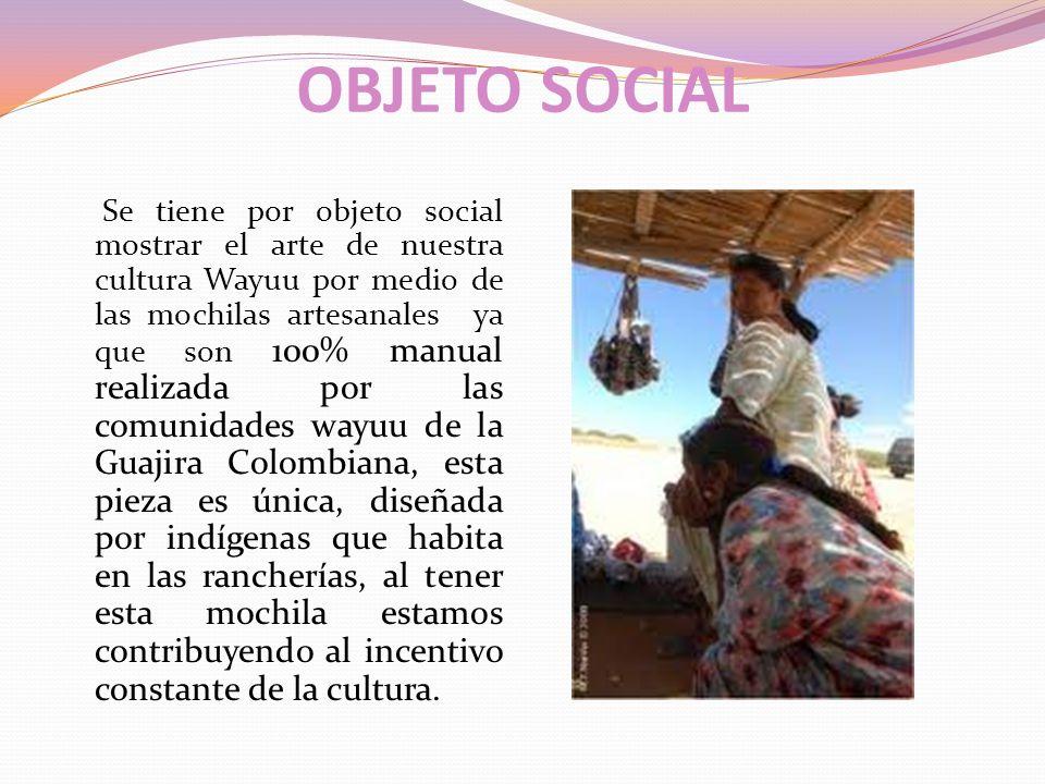 MISIÓN Somos una compañía encargada de comercializar mochilas desde Colombia hacia mercados internacionales, provenientes de la península de la Guajira con los mas selectos diseños de las distintas artesanías contribuyendo así al crecimiento económico del país a través de la promoción de exportaciones de Artesanías de mochilas hechas a mano, apoyados por nuestros indígenas Wayuu resaltando su cultura en el Departamento y el País.