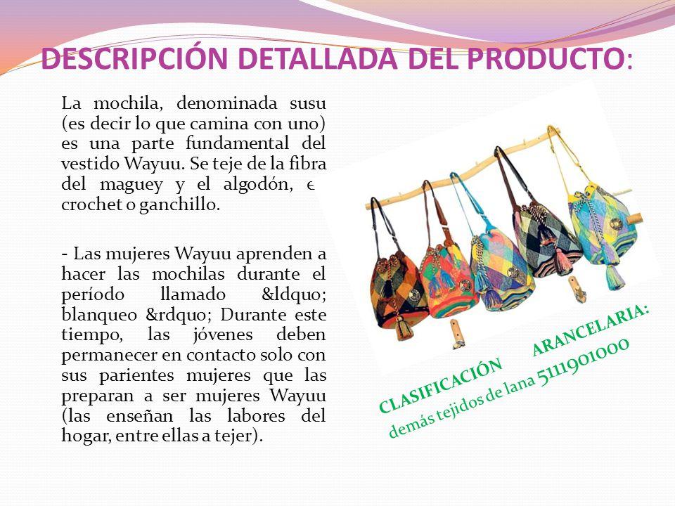 DESCRIPCIÓN DETALLADA DEL PRODUCTO: La mochila, denominada susu (es decir lo que camina con uno) es una parte fundamental del vestido Wayuu. Se teje d