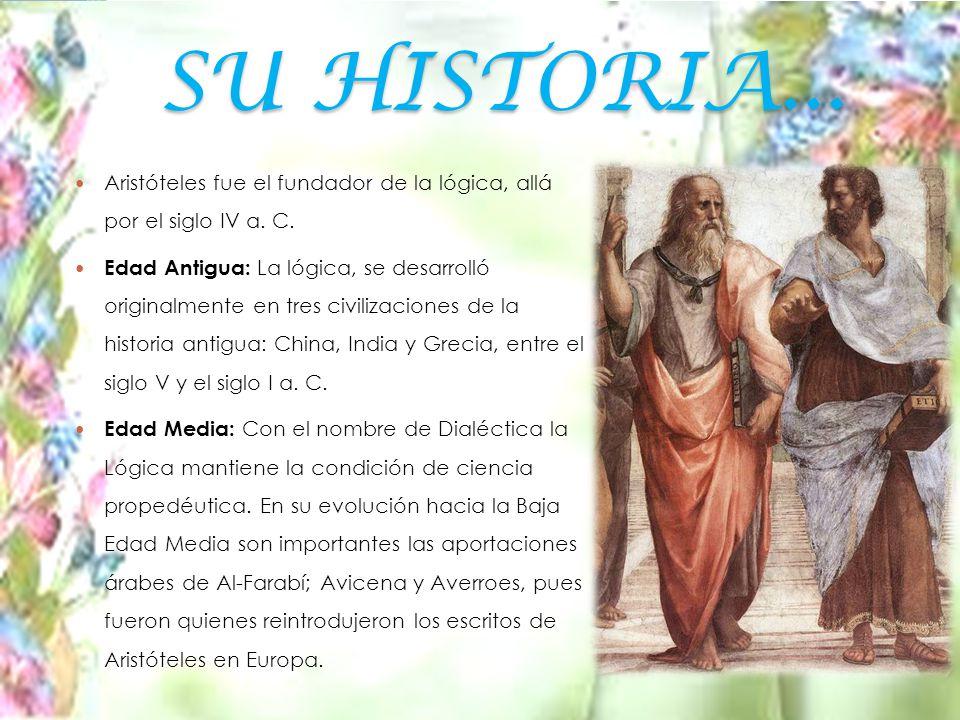 SU HISTORIA...Aristóteles fue el fundador de la lógica, allá por el siglo IV a.