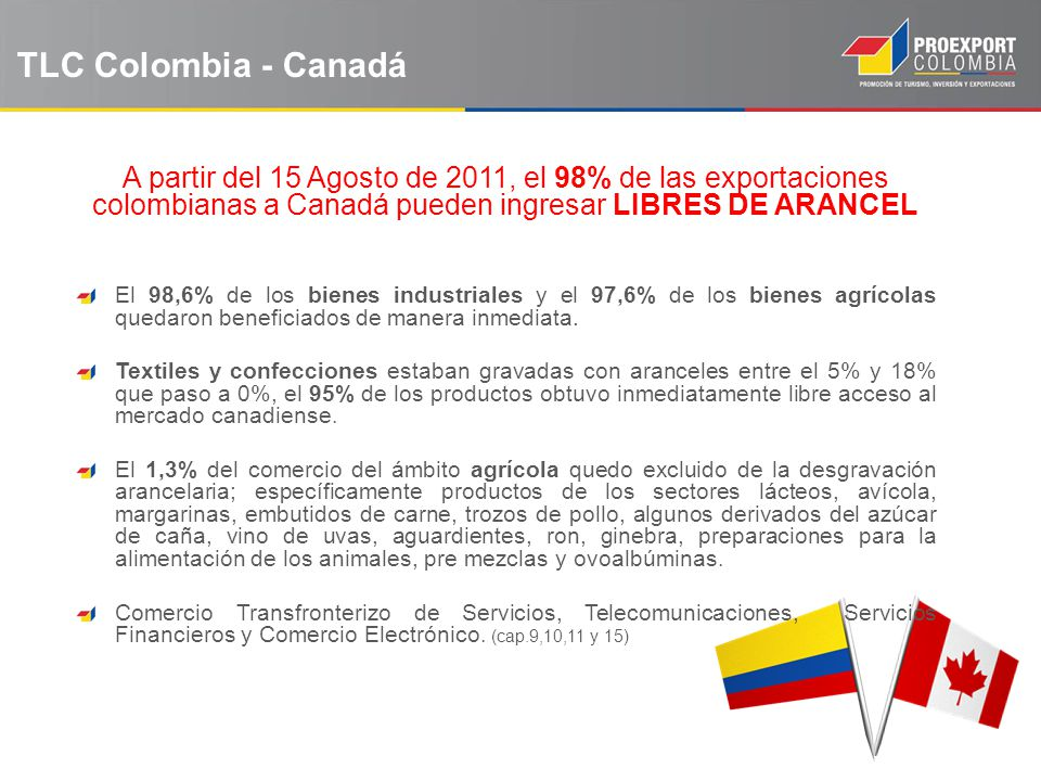 TLC Colombia - Canadá A partir del 15 Agosto de 2011, el 98% de las exportaciones colombianas a Canadá pueden ingresar LIBRES DE ARANCEL El 98,6% de l